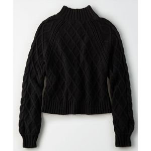 NWT AE Black Cable Knit Mock Neck Sweater